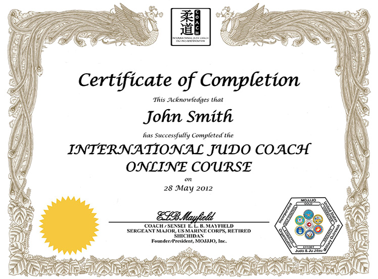 Coach Certificate Sample